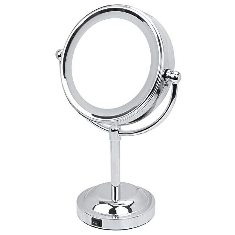 振幅愛情深いとにかく化粧鏡 3倍 拡大鏡 LED ライト付き 拡大+等倍 両面鏡 スタンドミラー 卓上 メイクミラー 360度回転 卓上ミラー 浴室鏡 女優ミラー 真実の鏡