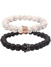 UEUC King&Queen Crown Couple Bracelets His and Her Friendship 8mm Beads Bracelet