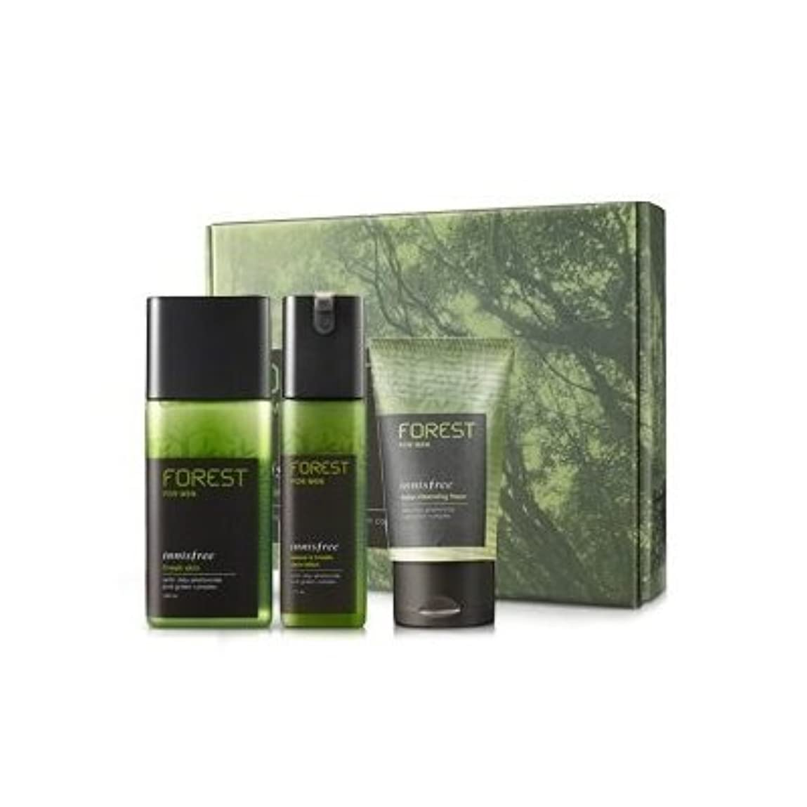 アフリカ対角線付録KOREAN COSMETICS, Innisfree, Forest for men grooming set (Fresh Skin 180ml + sebum & Trouble Zero Lotion 120ml...