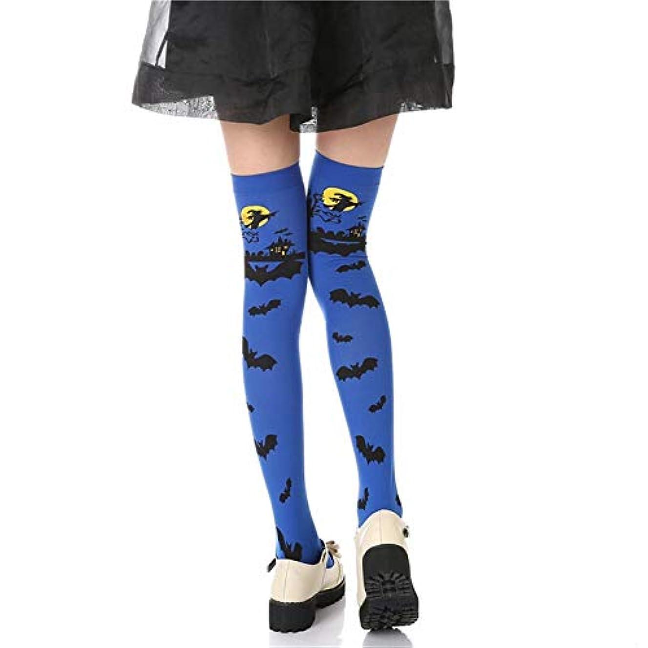 メモ調整可能スクラブ女性 5色は、長いストッキングの女の子の暖かいストッキングファッションコットン腿の高いオーバー膝秋のカジュアルストッキングレディース1pair (Color : Blue)