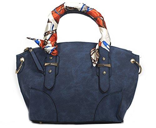 ほかでは手に入らないオリジナルデザインの特別限定品大人可愛いお出かけハンドバッグ2Wayインディゴリボンタイ(スカーフ柄)付き
