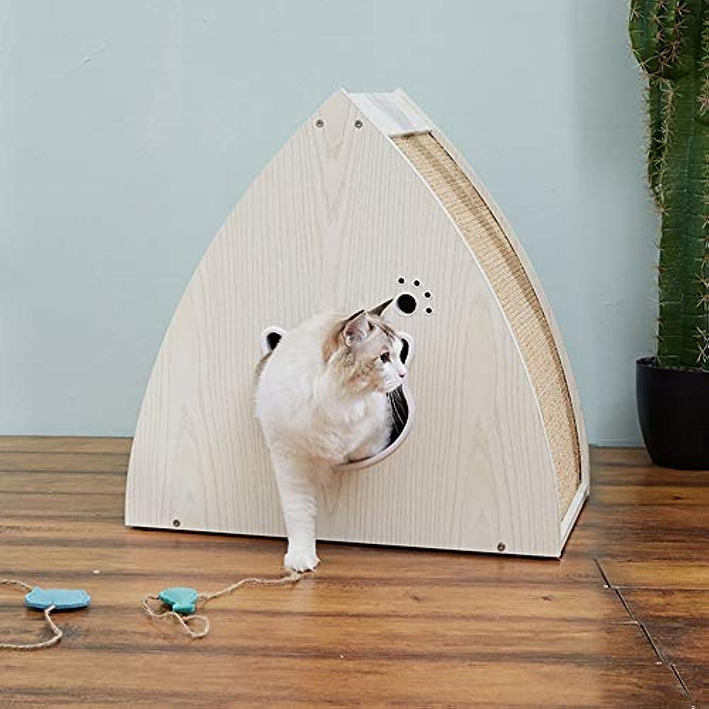 着服広告主テザーペットハウス犬猫の小屋 猫の巣トライアングル木製の猫の巣ベベルサイザル猫スクラッチボードに強く、美しいペットハウスキャットハウス (色 : ベージュ, サイズ : 60x39x60cm)