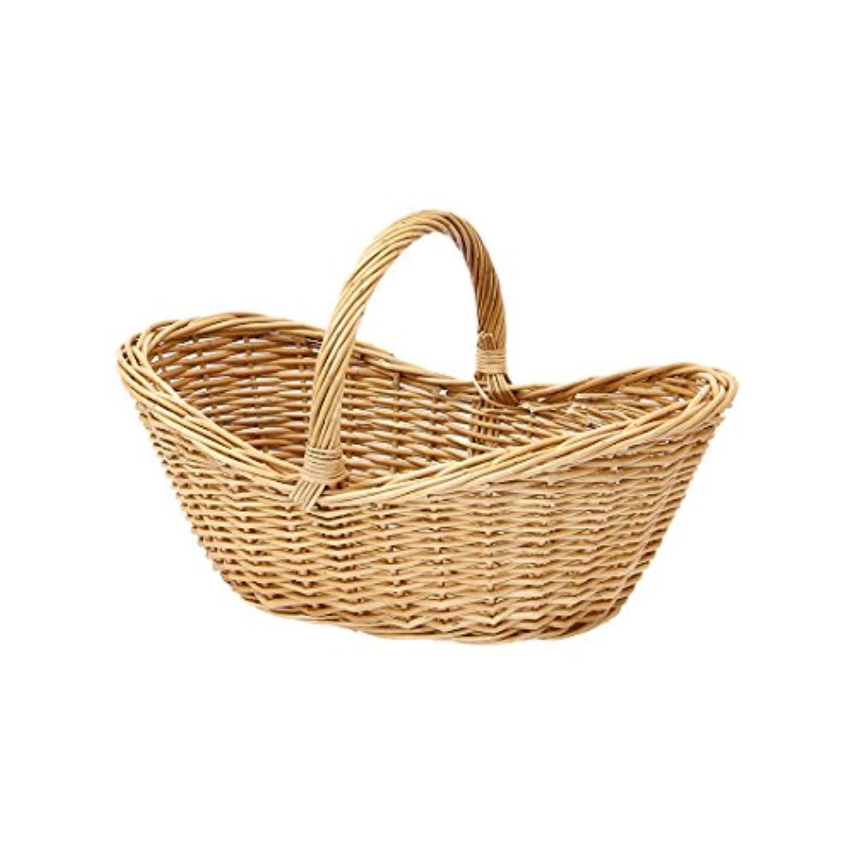 【メルカド かご収納雑貨の店】 ワンハンドル舟型バスケット(浅型)