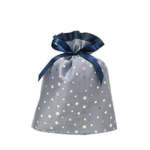 包む ギフト袋 ラッピング 巾着 ブルーシャイニースター S C-2554