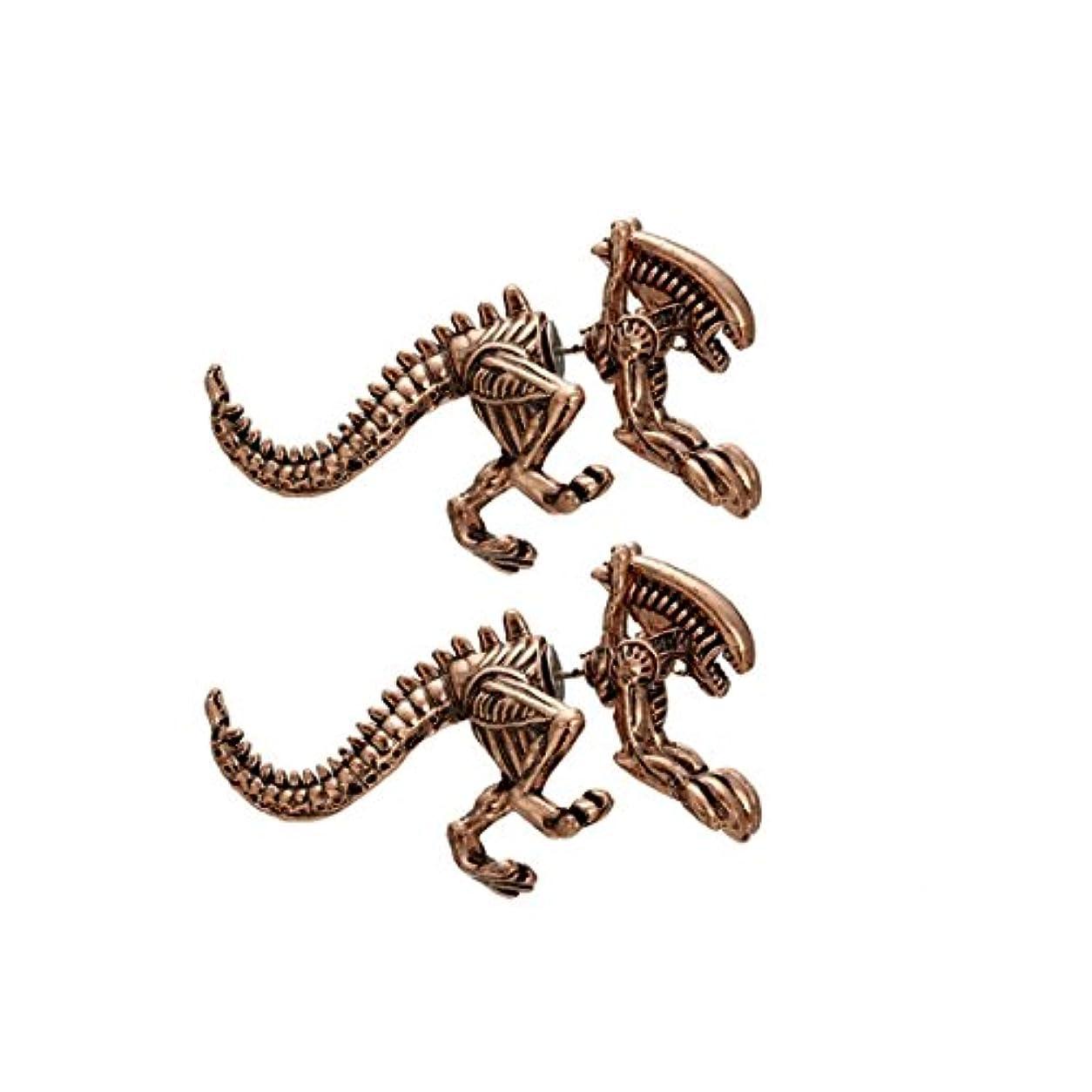 変形腐敗水を飲むmolyveva恐竜動物イヤリングピアスダブル耳カフスタッドフープイヤリングAlienハンターゴシックジュエリー