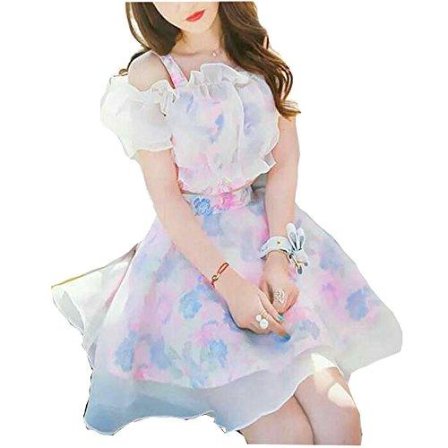 [해외]꽃 무늬 플라워 레이스 진주 뷔스티에 쉬폰 배꼽 로리타 옷 미니 스커트 부드러운 명주 치마 시스루 스커트 꿈 귀여운 설치 원피스 여성 여성 걸스/Flower Pattern Flower Lace Pearl Bustier Frill Chiffon Going Out Lolita Clothes Mini Skirt Fl...