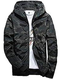 gawaga メンズ迷彩プリントファッションフーディジップアップウインドブレーカージャケット