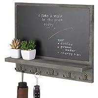 MyGift 古板 グレー 壁掛け黒板 10個のキーフック付き