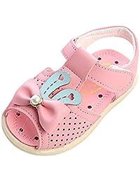 Tonsee ベビーシューズ 子供サンダル 女の子 ビーチサンダル マジックテープ付き カジュアル アウトドア 夏靴 3ヶ月-24ヶ月 (15/内長 11.5CM, ピンク)