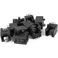 uxcell 電話コネクタ PCBジャックモジュラーマウント 10個入り RJ11 6P6C  黒い