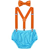 AWAYTR Baby Boys Cake Smash Outfit - First Birthday Party Suspenders Bow Tie Bloomers Set