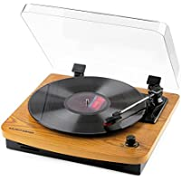 Musitrend LP レコードプレーヤー ステレオスピーカー内蔵 33/45/78回転対応 USB端子 RCA音声出力端子 天然木