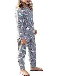 Blacking 女の子ユニコーンパジャマ長袖パンツコットン100%女の子上下セットナイト子供用トップスパンツ子供90-140 cm