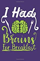 I Had Brains For Breakfast: Awesome Halloween Gifts for Kids Men or Women: Scary Purple and Green Lined Journal Notebook