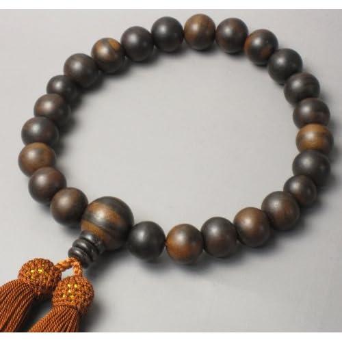 【日本製】★念珠堂★縞黒檀 男性用 数珠 頭付房 全ての宗派で使える男性用 念珠