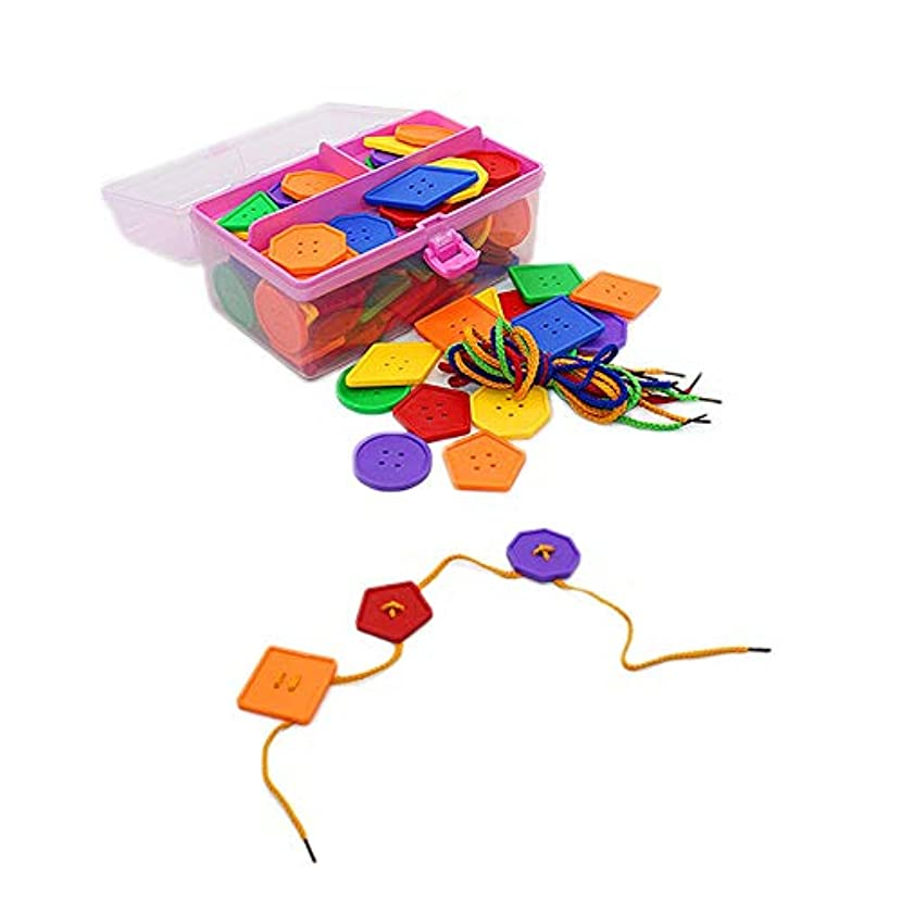 メンタリティプラスセブン積み木 子供のためのビーズストリンギングのために幼児教育玩具ストリンギング?大型ボタンのおもちゃ95個大レーシングビーズセット 遊びのなかで楽しく学べる知育玩具 (Color : Multi-colored, Size : 12.5x22x12cm)