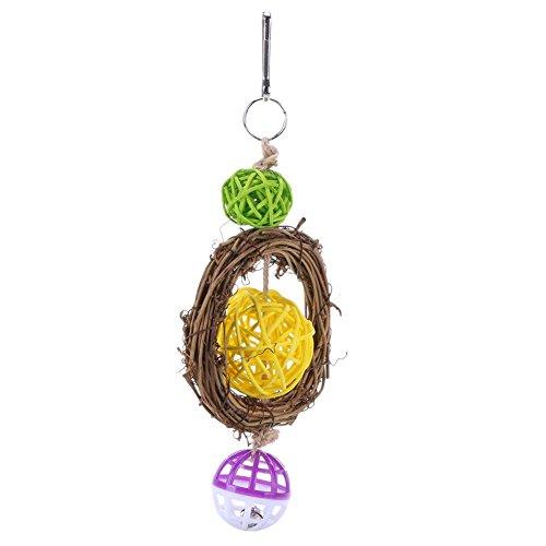 [해외]Everpert 애완 동물 용품 씹는 장난감 잉꼬 앵무새 조류 장난감 등나무 공 방울 鳥用 품 스트레스 해소 놀이 교육 훈련 나무 매달아 바구니 장식/Everpert Pet Supplies Bite Toys Inco Bulls Bird Toys Rattan Ball Bells Birds Supplies Stress Re...