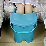 携帯用高まる鉱泉のマッサージの浴槽 - ふた - 世帯の熱保存の足湯 430 (色 : 青)