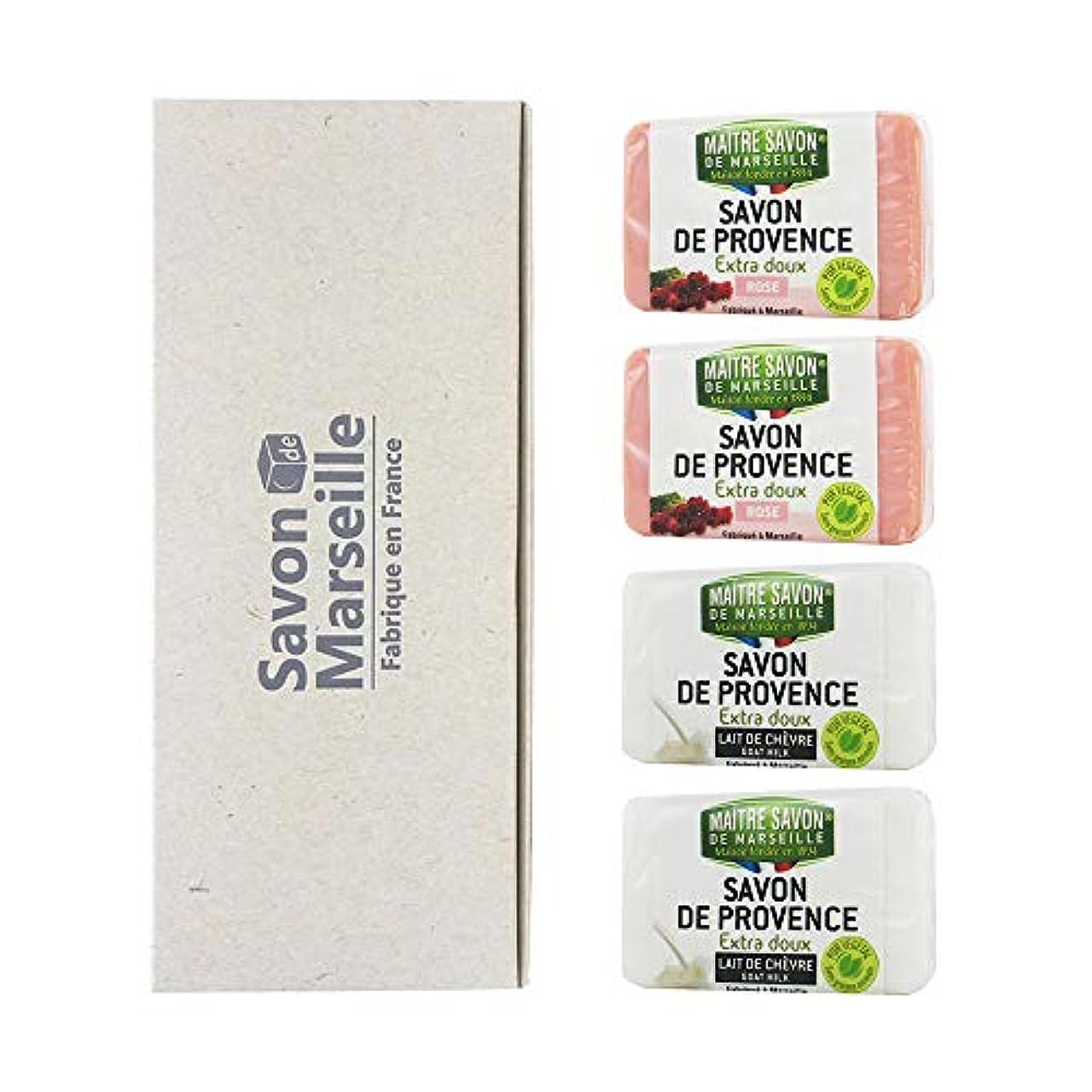 薬除外するロードブロッキングマルセイユソープ 4SOAPS BOX ローズ&ゴートミルク