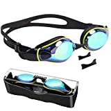 aegend Swim Goggles, Flat Lens Swimming Goggles with 3 Adjustable Nose Pieces, No Leaking Anti-Fog UV Protection Swim Goggle for Adult Men Women Youth Kids Child, 7 Colors