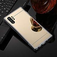 保護カバーケース TPU アクリル高級メッキミラー電話ケースカバー バックシェルケース (色 : Gold)