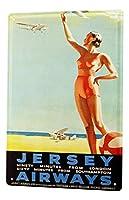 S-RONG雑貨屋 レトロエアラインビーチ水上飛行機女性ビキニティンサイン金属板装飾的なサイン家の装飾プラーク20 x 30 cm