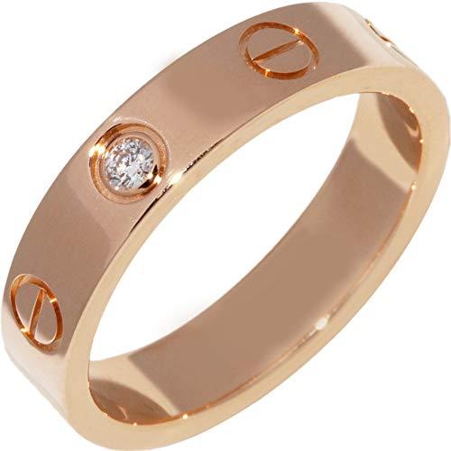 [カルティエ]Cartier K18PG ダイヤ1P(0.02ct) ミニラブリング(ラブウェディングリング) 指輪 #48(8号) B40507 中古