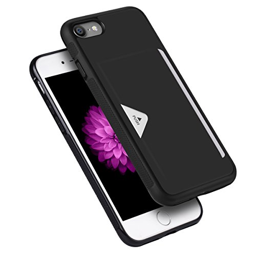 iPhone8ケース iPhone7ケース 薄型 ICカード収納 TPU+革製 耐衝撃 滑り防止 指紋防止 スマホケース 携帯カバー (iPhone7/8,黒)