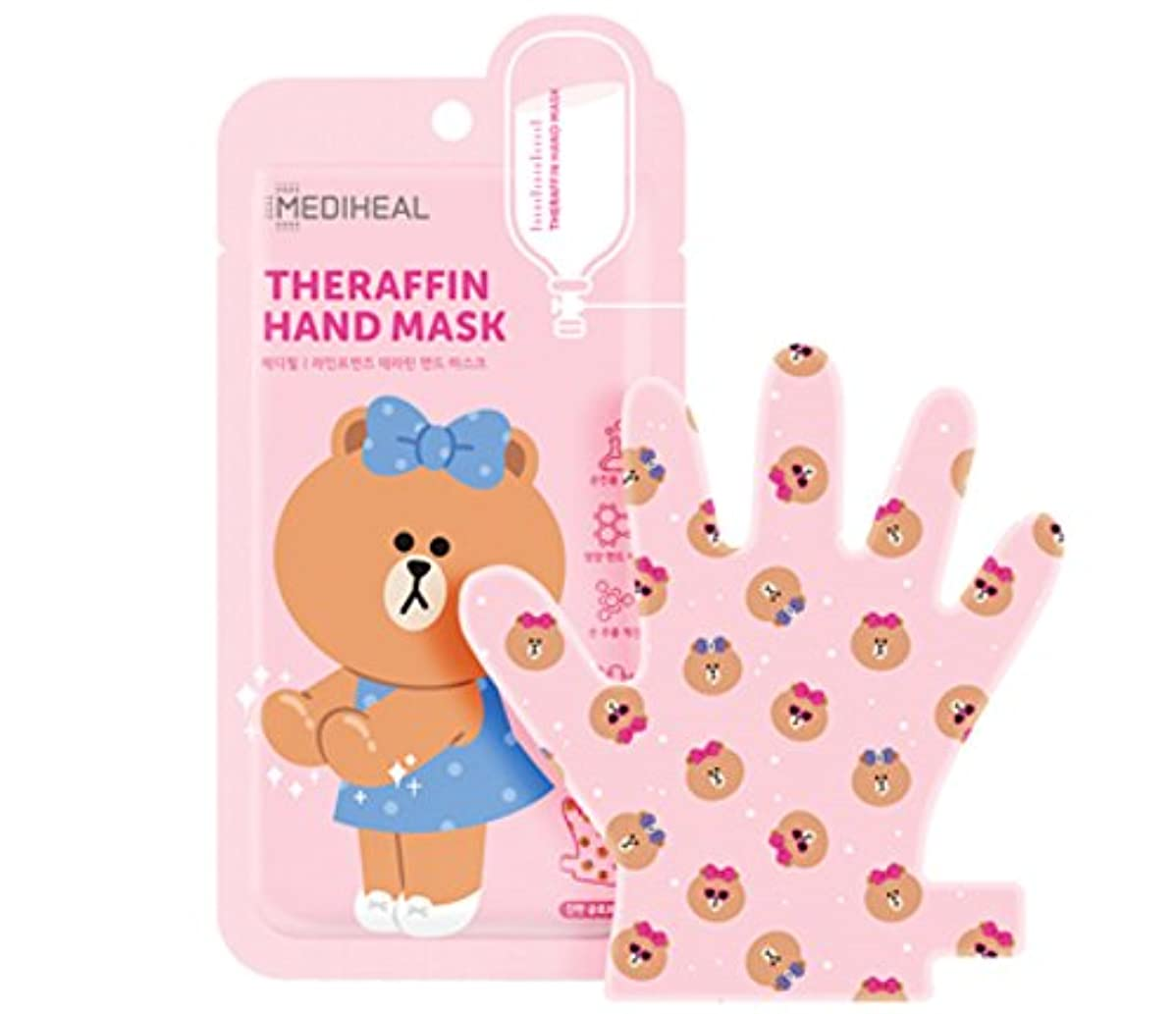 中にはっきりと摩擦MEDIHEAL LINE FRIENDS THERAFFIN HAND MASK テラピンハンドマスクきれいな手を作る