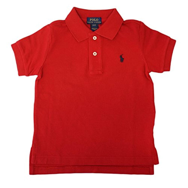 (ポロ ラルフローレン)POLO Ralph Lauren キッズ ポロシャツ 半袖 ポニーマーク ワンポイント 刺繍 レッド×ネイビー 7 [並行輸入品]