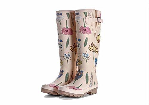 (チェリーレッド) CherryRed レディース レインブーツ レインシューズ おしゃれ ブーツ ロング 可愛い 美脚 明るい色 花柄 梅雨 雨の日 履き心地のよい 36