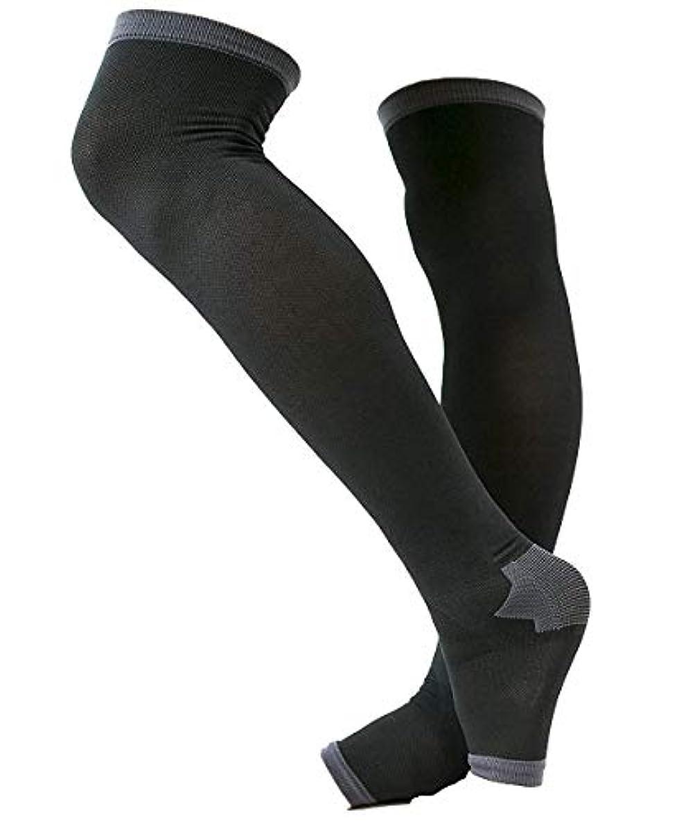 平野打撃集中冷え性対策 男性専用脚すっきり対策オープントゥ着圧ソックス 膝上 L-LL