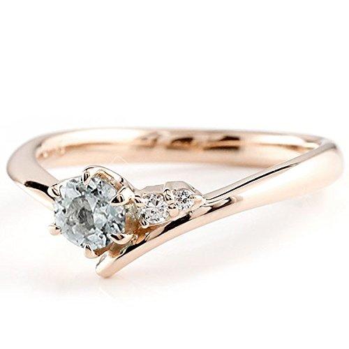 [アトラス] Atrus リング エンゲージリング ピンクゴールド 10金 指輪 アクアマリン ダイヤモンド 一粒 大粒 天然石 誕生石のエンゲージリング (3月の誕生石アクアマリン) ファッションリング 2号