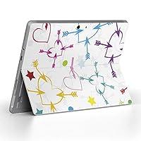 Surface go 専用スキンシール サーフェス go ノートブック ノートパソコン カバー ケース フィルム ステッカー アクセサリー 保護 ユニーク カラフル ハート 007230