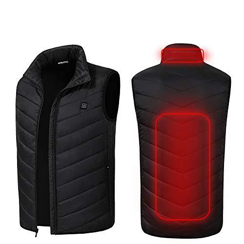 電熱ベスト usb加熱 バッテリー給電 電熱ジャケット 日本製のマイクロカーボンファイバーヒーター内蔵 温度3段階調整 作業着 バイク 釣り スキー 防寒ウェア 水洗い可 男女兼用 (XL, ブラック(ベスト))