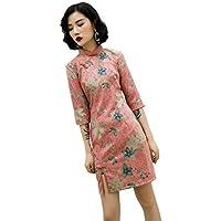 ChangNanJun Pink Suede Qipao Chinese Cheongsam Oriental Style Dress