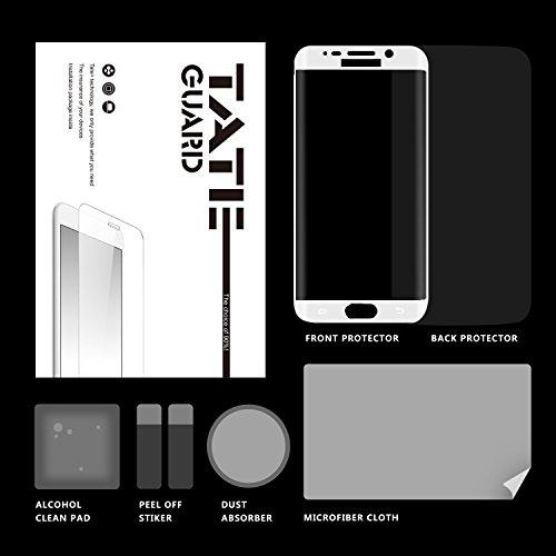 TateGuard Samsung Galaxy S6 Edge用「 2まいセット」3D曲面 超薄0.33mm HD画面 フルカバー 全面強化ガラス液晶フィルム「全面3D強化ガラス液晶面フィルム1枚+指紋防止背面保護フィルム1枚」 (ホワイト)