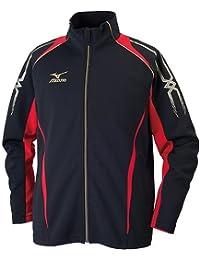 ミズノ ウォームアップシャツ ブラック×レッド 32JC601096 XS