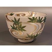 茶道具 抹茶茶碗 色絵 青楓流水画、京焼 相模竜泉作