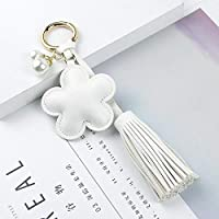 ファッションキーホルダー プラムパールタッセルバッグキーチェーンのペンダントの飾りの装飾品は付属品バックパック キー、財布、バックパック、ハンドバッグ、携帯電話、車のペンダントなどに適しています。 (Color : White)