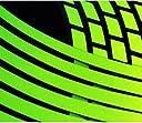 Kawasaki車に ライムグリーン デザイン リムステッカー バイク 17, 18インチ共用 前後ホイール分セット
