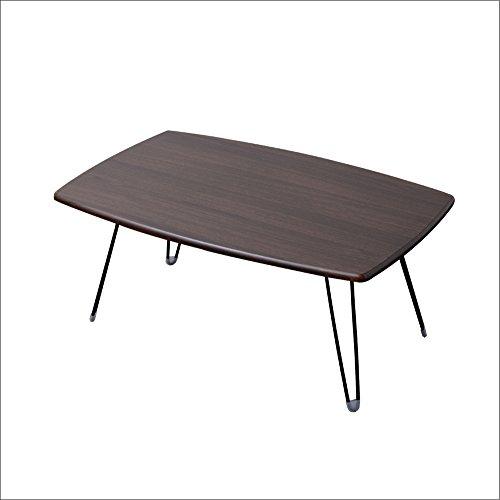 ノーブランド 折りたたみテーブル 折れ脚 シンプル 軽量 ローテーブル ダークブラウン 幅750  B00LTJXY8G 1枚目