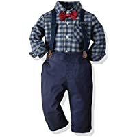 SALNIER Toddler Dress Suit Baby Boys Clothes Sets Bowtie Shirts + Suspenders Pants 3pcs Gentleman Outfits Suits 6Month - 6 Years