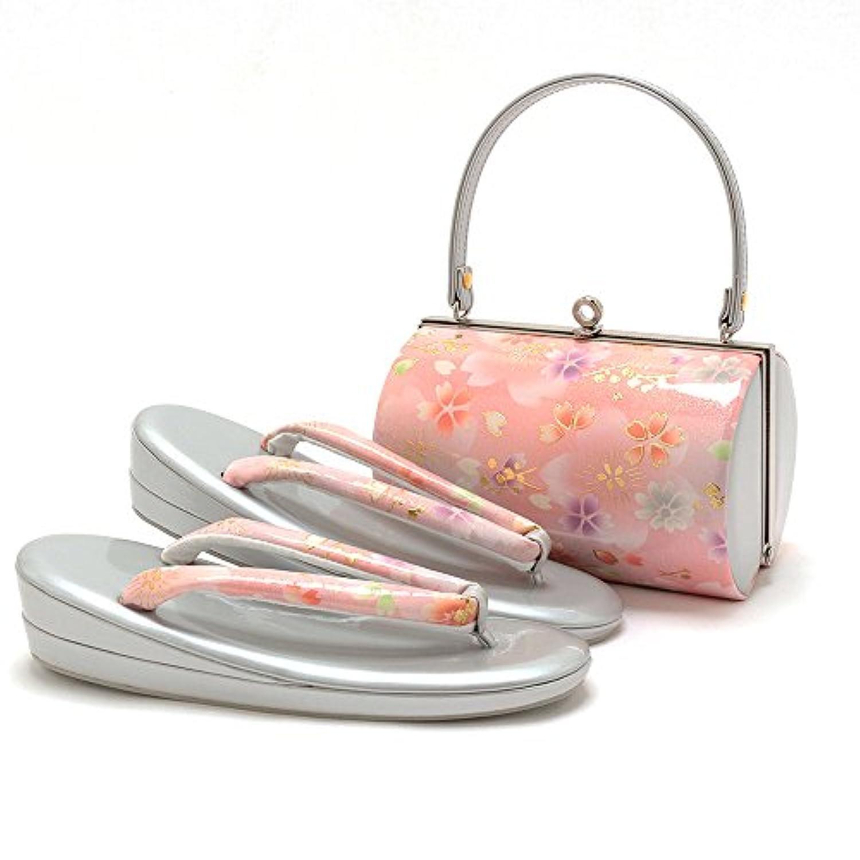 (キステ)Kisste 草履バッグセット 振袖用 <エナメル加工> フリーサイズ ピンク <桜、松> 7-4-06758