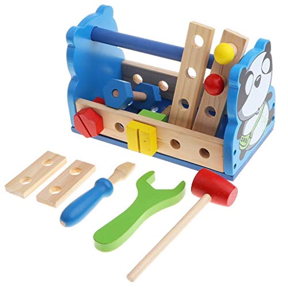 ランチョン汚れる構成するDIY建設玩具 木製 スクリュー ボルト ナット ツールセット おもちゃ