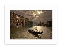 Moonlight Moon Grand Canal Gondola Venice Italy Vintage Canvas Art Print