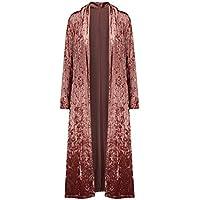 ezShe Women's Velvet Lapel Collar Open Front Long Cardigan Trench Coat