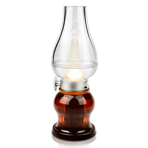 Winkeyes LED センサーライト デスクスタンド オイルランプデザイン レトロ ケロシンライト 吹くと点灯、消灯 調光タイプ USB充電 屋内照明 雰囲気作り テーブルランプ 夜間ライト 暖光 デスクライト (茶色)