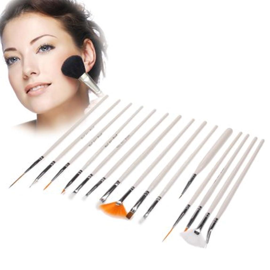 さておきエアコンヘアMEI1JIA QUELLIA 15pcs美容のプロフェッショナルメイクアップブラシトラベル化粧ブラシセット(ホワイト)