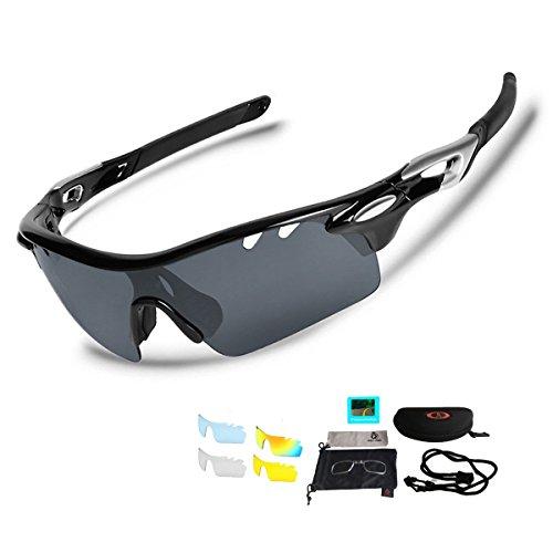 スポーツサングラス 偏光レンズ UV400紫外線カット 超軽量 交換レンズ5枚 フルセット 釣り/自転車/野球/ゴルフ/ランニング/ドライブ/登山 偏光サングラスセット (ブラック)